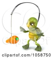 Royalty Free CGI Clip Art Illustration Of A 3d Green Tortoise Chasing A Carrot On A Stick 2