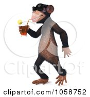 Royalty Free CGI Clip Art Illustration Of A 3d Chumpy Chimp Wearing Shades And Sipping A Drink 2