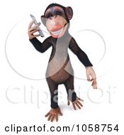 Royalty Free CGI Clip Art Illustration Of A 3d Chumpy Chimp Holding A Cell Phone 1