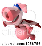 Royalty Free CGI Clip Art Illustration Of A Super Hero Pookie Pig Flying 1