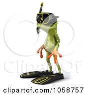 Royalty Free CGI Clip Art Illustration Of A 3d Springer Frog In Snorkel Gear 4