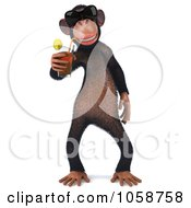 Royalty Free CGI Clip Art Illustration Of A 3d Chumpy Chimp Wearing Shades And Sipping A Drink 1