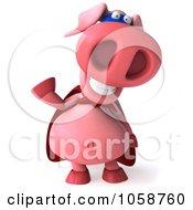 Royalty Free CGI Clip Art Illustration Of A Super Hero Pookie Pig Waving by Julos