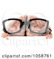 Royalty Free CGI Clip Art Illustration Of A 3d Brain Character Wearing Glasses Over A Blank Sign