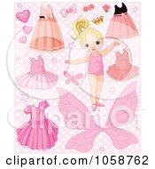 Royalty Free Vector Clip Art Illustration Of A Digital Collage Of A Toddler Girl With Dresses Tutus And Butterflies