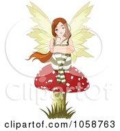 Royalty Free Vector Clip Art Illustration Of A Fairy Seated On A Mushroom