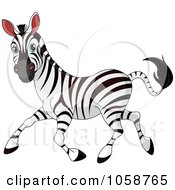 Royalty Free Vector Clip Art Illustration Of A Running Adult Zebra by Pushkin