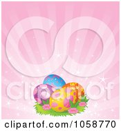 Royalty Free Vector Clip Art Illustration Of Decorated Easter Eggs Over Pink Rays