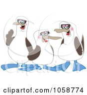 Royalty Free Vector Clip Art Illustration Of Three Blue Footed Boobie Birds