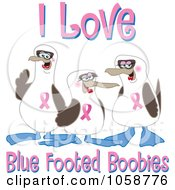 Royalty Free Vector Clip Art Illustration Of Boobie Bird Breast Cancer Awareness Characters With Text 2 by Toons4Biz
