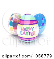 Royalty Free CGI Clip Art Illustration Of 3d Easter Eggs One With Text by BNP Design Studio