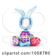 Royalty Free CGI Clip Art Illustration Of A 3d Ivory Man In A Bunny Costume Seated With Easter Eggs by BNP Design Studio