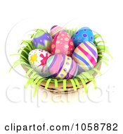 Royalty Free CGI Clip Art Illustration Of 3d Easter Eggs In A Basket