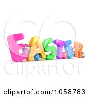 Royalty Free CGI Clip Art Illustration Of A 3d Angled EASTER With Eggs