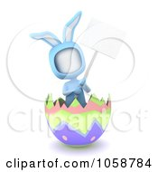 Royalty Free CGI Clip Art Illustration Of A 3d Ivory Man Wearing A Bunny Custume In An Easter Egg Shell With A Blank Sign by BNP Design Studio