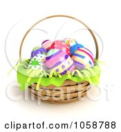 Royalty Free CGI Clip Art Illustration Of 3d Easter Eggs In A Hand Basket