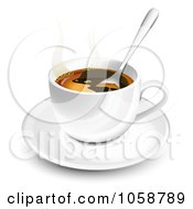 Royalty Free Vector Clip Art Illustration Of A 3d Spoon In A Coffee Cup On A Saucer