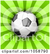 Royalty Free Vector Clip Art Illustration Of A 3d Soccer Ball Over Green Rays by Oligo