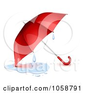 Royalty Free Vector Clip Art Illustration Of A 3d Red Umbrella With A Puddle And Droplets
