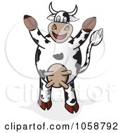 Royalty Free Vector Clip Art Illustration Of A Cheering Cow Holding Its Hooves Up