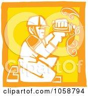 Poster, Art Print Of Orange And Yellow Woodcut Styled Carpenter