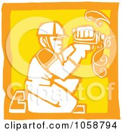 Royalty Free Vector Clip Art Illustration Of An Orange And Yellow Woodcut Styled Carpenter by xunantunich