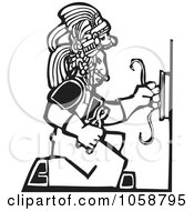 Black And White Woodcut Styled Mayan Electrician by xunantunich