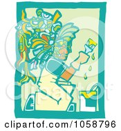 Royalty Free Vector Clip Art Illustration Of A Woodcut Styled Mayan Painter by xunantunich