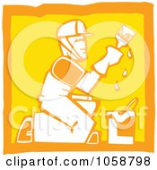 Royalty Free Vector Clip Art Illustration Of An Orange And Yellow Woodcut Styled Painter by xunantunich