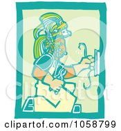 Royalty Free Vector Clip Art Illustration Of A Woodcut Styled Mayan Electrician by xunantunich