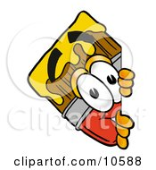 Clipart Picture Of A Paint Brush Mascot Cartoon Character Peeking Around A Corner by Toons4Biz