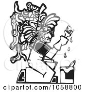 Royalty Free Vector Clip Art Illustration Of A Black And White Woodcut Styled Mayan Painter by xunantunich