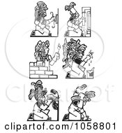 Royalty Free Vector Clip Art Illustration Of A Digital Collage Of Black And White Woodcut Styled Mayan Workers