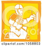 Royalty Free Vector Clip Art Illustration Of An Orange And Yellow Woodcut Styled Electrician by xunantunich