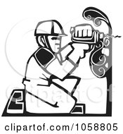 Royalty Free Vector Clip Art Illustration Of A Black And White Woodcut Styled Carpenter by xunantunich