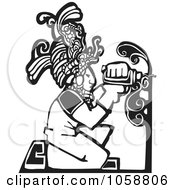 Poster, Art Print Of Black And White Woodcut Styled Mayan Carpenter