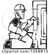Royalty Free Vector Clip Art Illustration Of A Black And White Woodcut Styled Plumber
