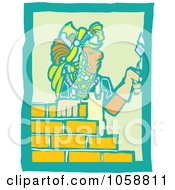 Royalty Free Vector Clip Art Illustration Of A Woodcut Styled Mayan Mason by xunantunich