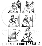 Royalty Free Vector Clip Art Illustration Of A Digital Collage Of Black And White Woodcut Styled Workers