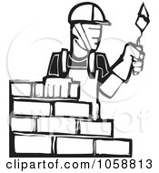 Royalty Free Vector Clip Art Illustration Of A Black And White Woodcut Styled Mason by xunantunich #COLLC1058813-0119