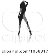 Royalty Free Vector Clip Art Illustration Of A Sexy Silhouetted Woman With A Reflection 5