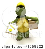 Royalty Free CGI Clip Art Illustration Of A 3d Tortoise Delivering A Package