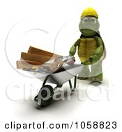 Royalty Free CGI Clip Art Illustration Of A 3d Tortoise Builder Pushing Tools In A Wheelbarrow