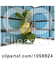 Royalty Free CGI Clip Art Illustration Of A 3d Tortoise Reaching For Archives