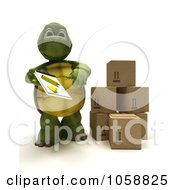 Royalty Free CGI Clip Art Illustration Of A 3d Tortoise Delivering Packages