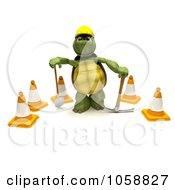 Royalty Free CGI Clip Art Illustration Of A 3d Tortoise Construction Worker With Cones