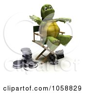 Royalty Free CGI Clip Art Illustration Of A 3d Tortoise Director In A Chair
