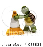 Royalty Free CGI Clip Art Illustration Of A 3d Tortoise Construction Worker Moving A Cone