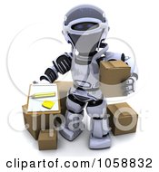 Royalty Free CGI Clip Art Illustration Of A 3d Robot Holding A Box And Clipboard