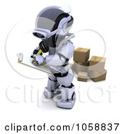 Royalty Free CGI Clip Art Illustration Of A 3d Robot